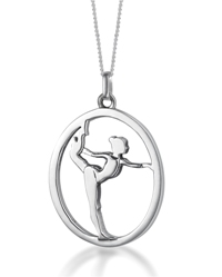 MB 424, MB 441, MB 425. Sterling silver pendant gymnast on floor.