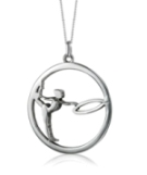 MB 442. Sterling silver pendant gymnast with circle.